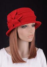 M388 Red Cute 6-Leaf Flower Warm Wool Women's Winter Hat Bucket Cloche Cap