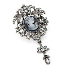 Cameo Brooch Hematite Grey Colour Diamante
