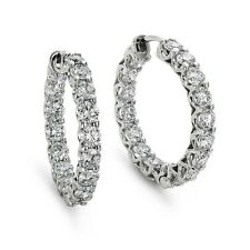 F/VS 1.00Ct Round Diamond U Claw Set Hoop Earrings Crafted in 18k White Gold .