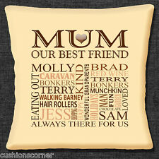 """PERSONALISED MUM YOUR OWN WORDS HEART KEEPSAKE GIFT 16"""" Pillow Cushion Cover"""