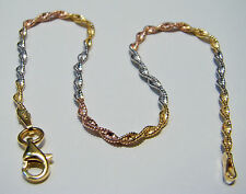 """14ct multitone gold plated 925 sterling silver twisted snake chain bracelet 7,6"""""""