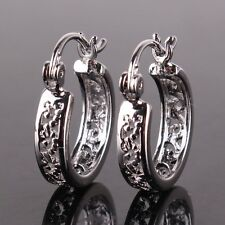 18k white gold filled hollow design lovely lady Huggie earring