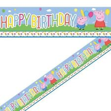 PEPPA PIG FOIL BANNER - 365cm long - New design -  BIRTHDAY PARTY DECORATIONS