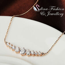 18K Rose Gold Plated Exquisite 9 Pieces Simulated Diamond Row Cluster Necklace