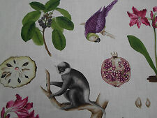 Sanderson Curtain Fabric  'Capuchins' Boysenberry Col 1.4 METRES ~ Linen Blend