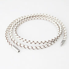 "18"" 45cm Braided White Leather Surfer Necklace NON Allergy Silver Pewter Clasp"