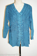 Embroidered Shirt India Rayon hippy new age stonewash Ladies Long Blouse