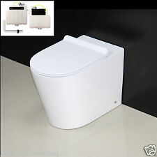 Toilet WC Bathroom Back to Wall Concealed Cistern Ceramic Soft Closing Seat 4NEW