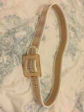 Coast White & Beigey Brown Check Belt Leather 12 14 Alessia Medium New Tags