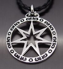 "Septagram Star Silver Pewter Pendant with 20"" Free Necklace P271"