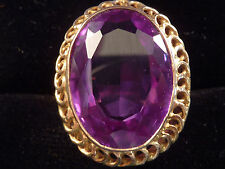 EGYPTIAN 18ct GOLD AMETHYST COCKTAIL RING. UK N  US 7