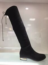 LADIES WOMENS BLACK OVER KNEE HIGH LOW HEEL SUEDE FAUX BOOTS SHOES SIZE 4