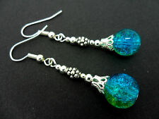 A PAIR OF TIBETAN SILVER BLUE/GREEN CRACKLE GLASS BEAD  DANGLY EARRINGS. NEW.