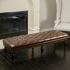 Elegant Tufted Brown Leather Ottoman Bench w/ Nailhead Accents