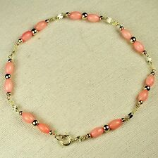 14k solid yellow gold lightweght natural Pink Coral teenager bracelet 7 inches