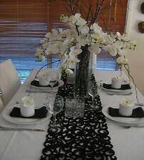 Table Runner - BLACK Filigree Felt
