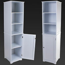White Tall Wooden Shelving Unit Cabinet Cupboard Bathroom Storage Shelving MDF