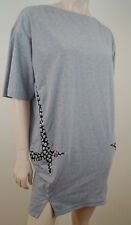 KENZO PARIS Grey 100% Cotton Black & White Floral Detail Mini Short Tunic Dress