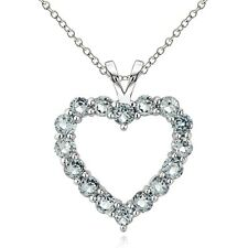 Sterling Silver 1.75 Ct Aquamarine Open Heart Necklace