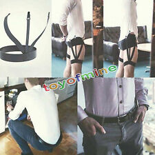 1 Pair Mens Adjustable Shirt Stay Garter Belt with Non-slip Locking Clamps