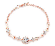Rose Gold and Rhinestone Link Bracelet