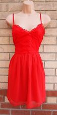 H&M FLORAL LACE HALF BUTTONED STRAPPY RED SKATER FLIPPY A LINE TEA DRESS 12 M