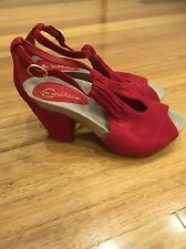 Earthies Leather Shoes Size 7.5 Red Suede Leather Brand New Bnwot Rrp$109
