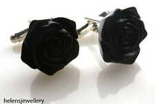 GORGEOUS HANDMADE BLACK ROSE CUFFLINKS + FREE GIFT BAG + FAST FREE P&P