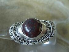 Hut Fingerring m.14 mm roten Brekzien Jaspis Edelstein Ring verstellbar 18-21 mm