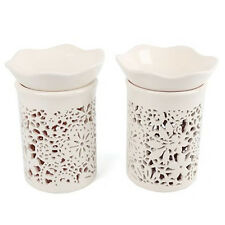 SET OF 2 CUTOUT OIL BURNER CANDLE TART WAX MELT AROMATHERAPY FRAGRANCE CERAMIC