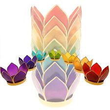 Lotus Capiz Muschel mit Silberrand 7 er Set  Größe S Teelichthalter Kerzenhalter