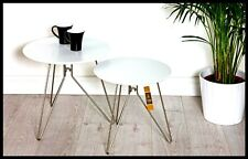Retro Nest of Tables White Round Shabby Chic Coffee Side Lamp Table Set Vintage