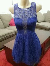 DOTTI Pretty Blue Lace Daisy Dress With Part Sheer Top Size 10. Like New