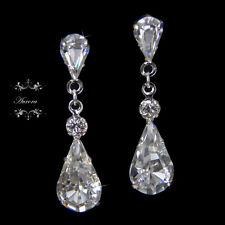 Swarovski Crystal Tear Drop Earrings Wedding Bridal Platinum Plated Silver Clear