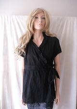 BELLY BASICS Black Ruffled Wrap Top Sz M BNWT FREE Shipping $75.00 and Over