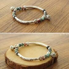 Stylish Women Handmade Bangle Ceramics Silver Plated Tibetan Style Bracelet Hot