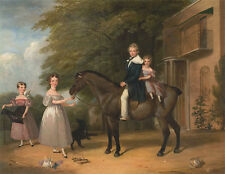 Children with Horse and Dog Henry Barraud Pferde Kinder Reiten Tiere B A3 00045