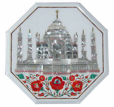 "18""x18"" Marble Coffee Table Top Tajmahal Inlay Marquetry Mosaic Christmas Decor"