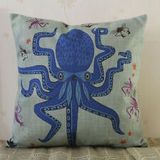 Novelty gift Blue Octopus cartoon cushion cover home decorative pillow case,18""