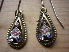 BRONZE TONE EARRINGS SPARKLY CRYSTALS