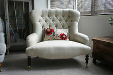 Victorian style love seat small button back sofa In laura ashley edwin natural