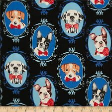 Dog Portraits 100% Cotton Fabric by Timeless Treasures  FQ