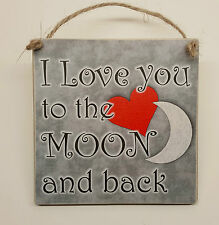 "Hanging Wooden Plaque ""I Love you to the moon and back"" Novelty Gift Sign"