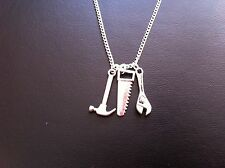 "MENS WORK TOOL CHARM NECKLACE HAMMER SAW WRENCH 18"" SILVER CHAIN IN GIFT BAG"