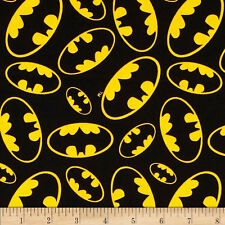 Batman Emblems Tossed Black Background Cotton Quilting Fabric 1/2 YARD