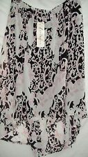 Autograph Lined Navy taupe Hi Lo uneven hem Maxi Skirt elastic waist easy 22 NEW