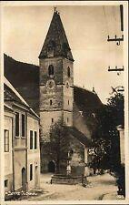 Spitz Niederösterreich Wachau ~1920/30 Dorfplatz Brunnen Kirche Echtfoto-AK
