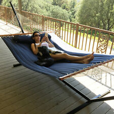 Navy Blue Double Quilted Hammock Fabric Double Spreader Bar Pillow Patio Outdoor