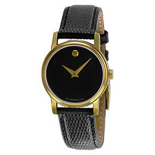 Movado Museum Black Leather Ladies Watch 2100006-AU
