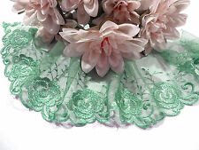Green Embroidered  Lace Trim 10 cm wide #6GN776B 1 metre